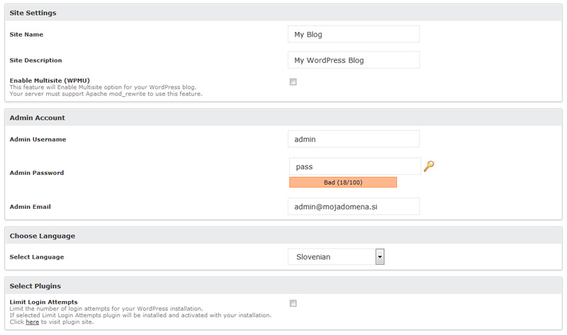 WordPress namestitev - slika 2
