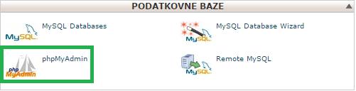 Ikona phpMyAdmin v cPanel nadzorni plošči.