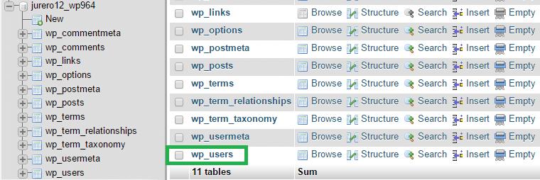 phpMyAdmin baze podatkov - tabela wp_users.