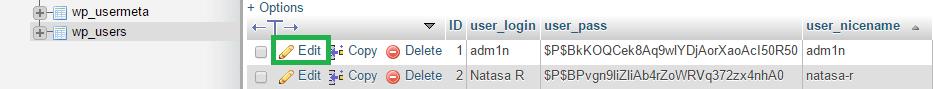 wp_users tabela v phpMyAdmin.
