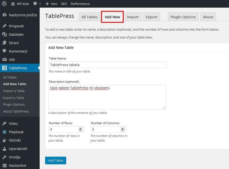 TablePress - izdelava tabele