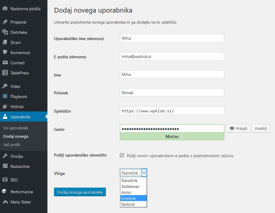 Dodajanje novega uporabnika (WordPress)
