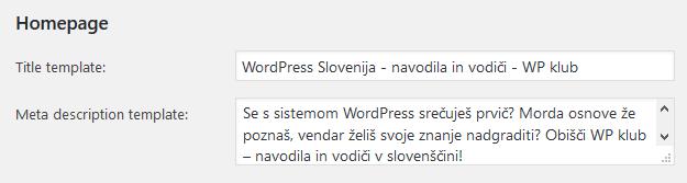 Naslov in meta opis vstopne strani