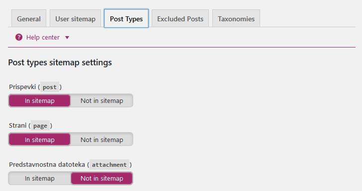 Nastavitve zemljevida spletnega mesta (Post Types)