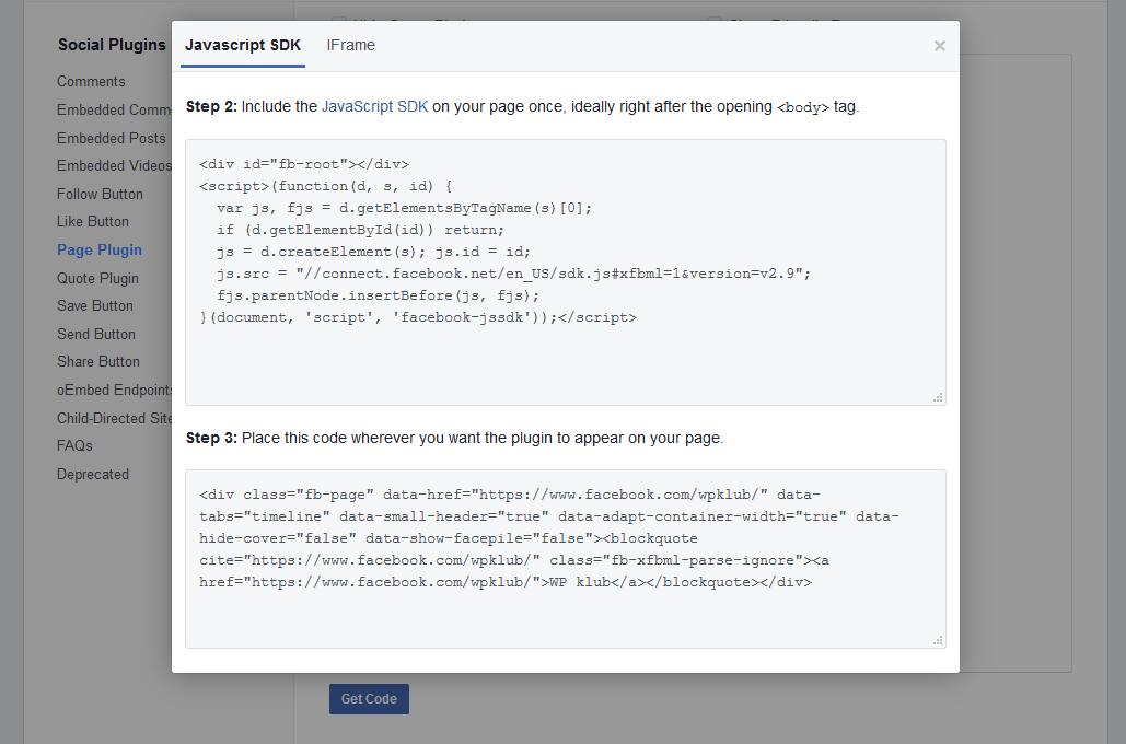 Koda za Facebook okno