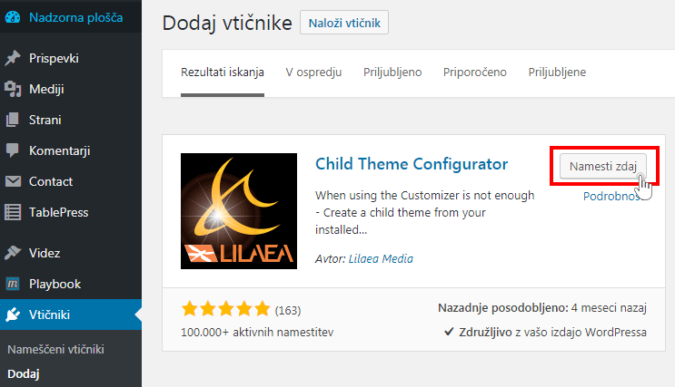 Namesti vtičik Child theme Configurator
