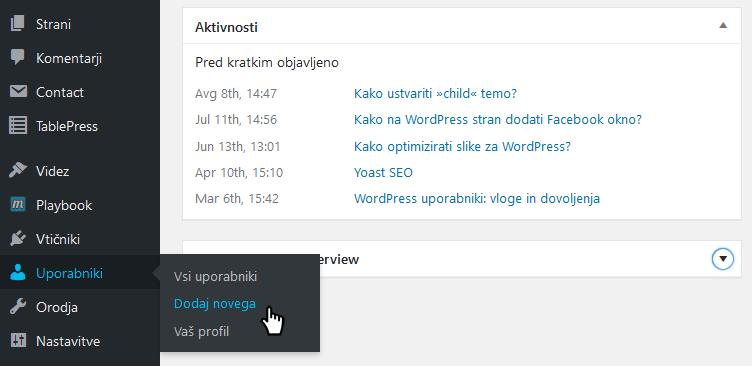 Dodaj novega WordPress uporabnika