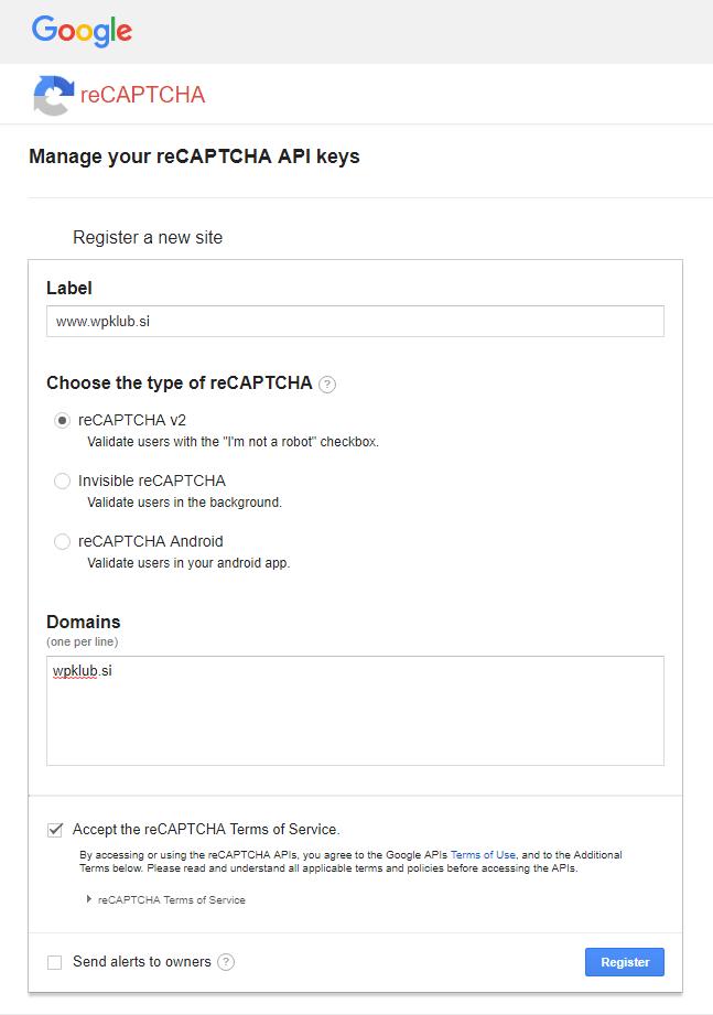 Google reCAPTCHA - registracija spletnega mesta