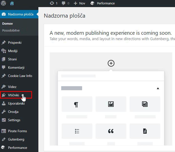 Namestitev WordPress vtičnika