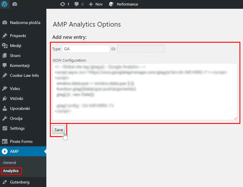 Povezava AMP in Google Analytics